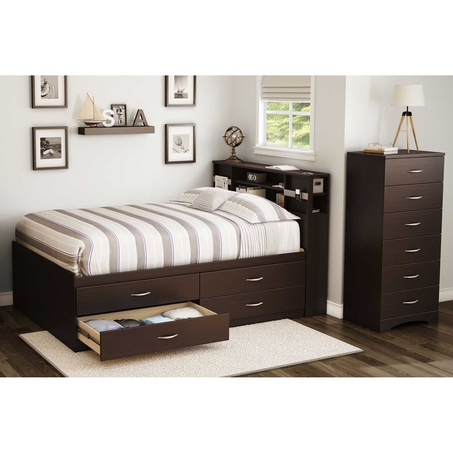South Shore Step One Full Bookcase Headboard (Chocolate),...