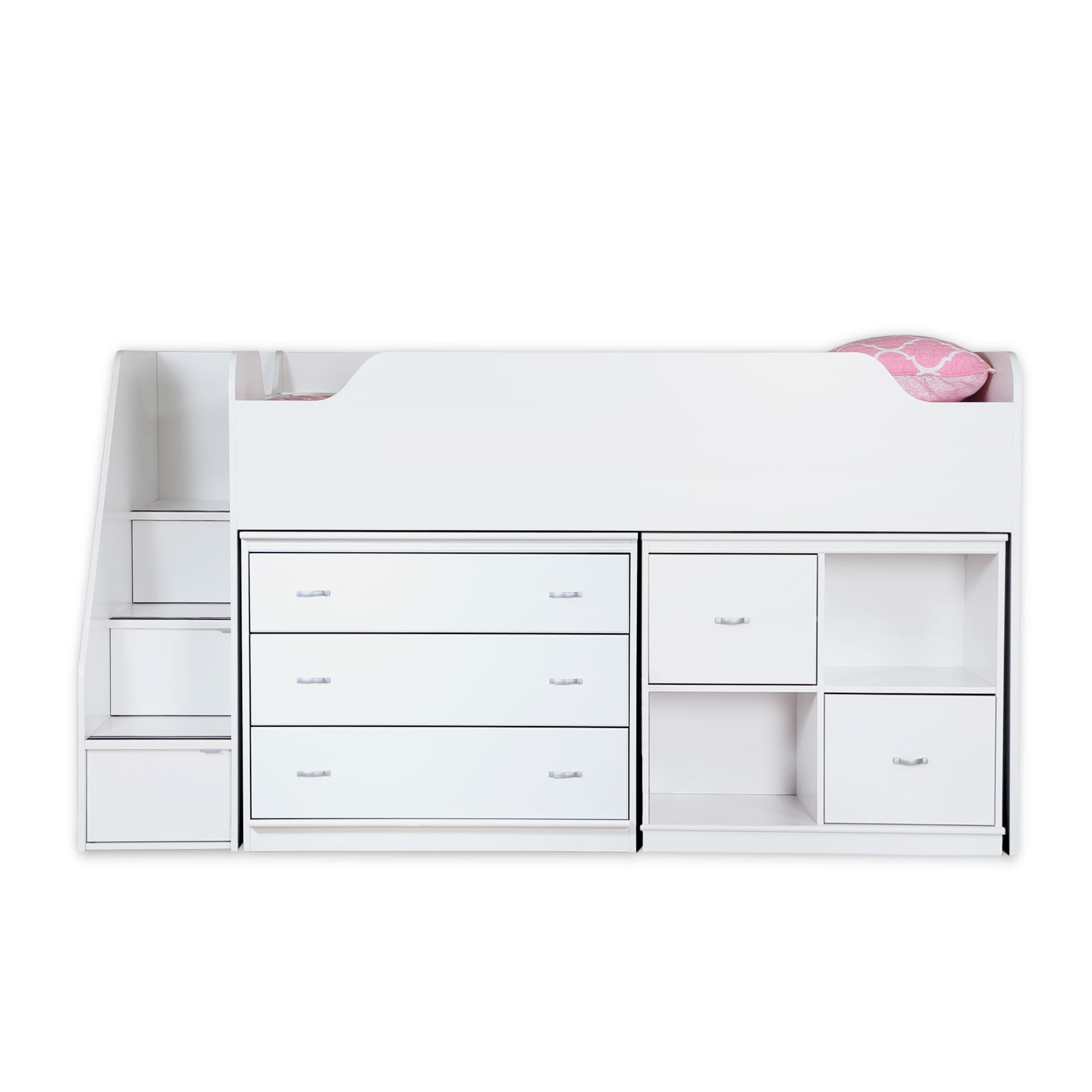 South Shore Mobby Twin Loft Bed with Chest and Storage Un...