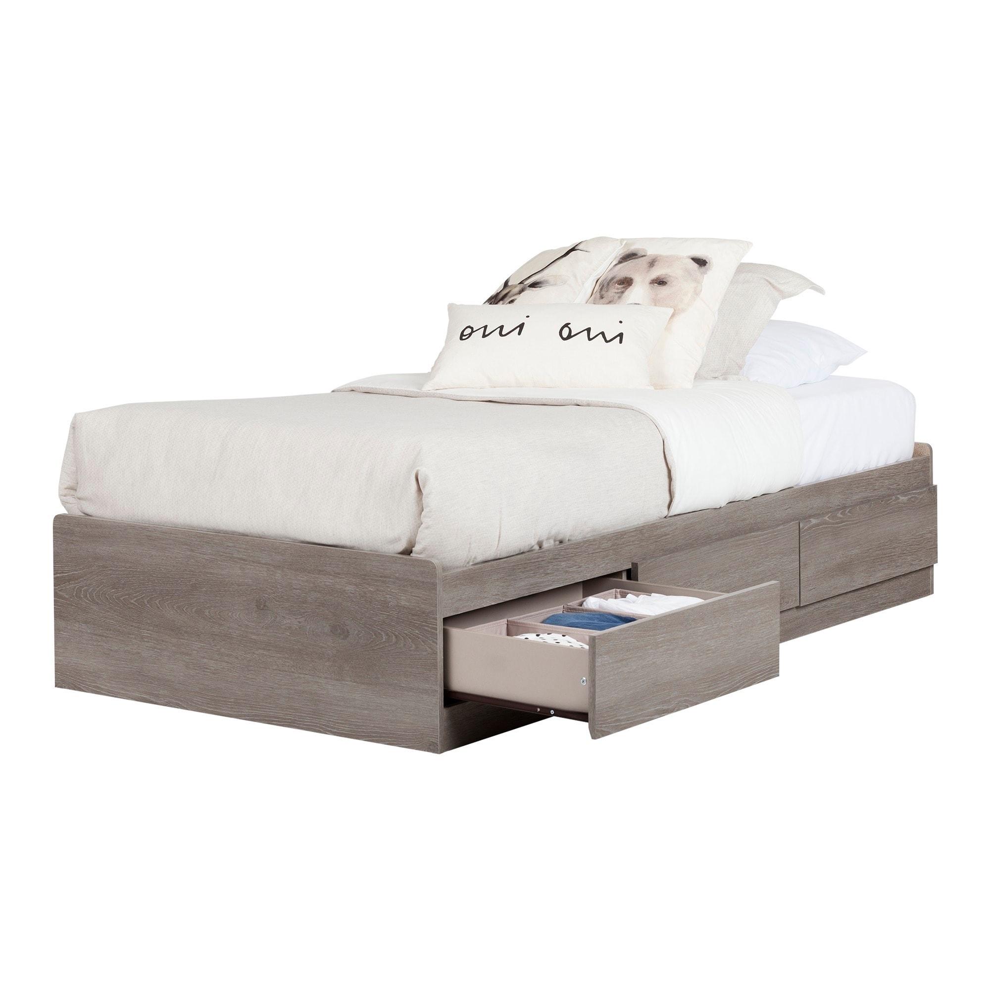 South Shore Savannah Twin Mates Bed (Grey Maple)