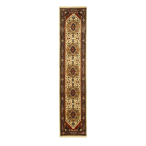 "Hand-knotted Wool Ivory Traditional Oriental Serapi Rug (2'6 x 12') - 2'6"" x 12'"