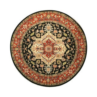 EORC Hand Knotted Wool Navy Serapi Rug (8' Round)