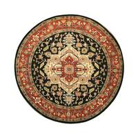 Hand-knotted Wool Navy Traditional Oriental Serapi Rug (8' Round) - 8'