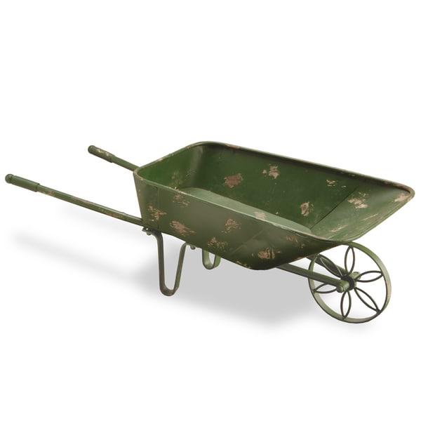 27-inch Antique Green Garden Cart