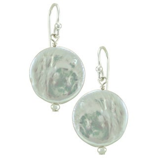 Sterling Silver Mother of Pearl Disc Earrings - White