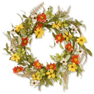 20-inch Floral Wreath with Red and Yellow Sunflowers