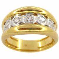 Kabella 18k Yellow Gold 3/8ct TDW 5-stone Diamond Ring (G-H, SI1-SI2)