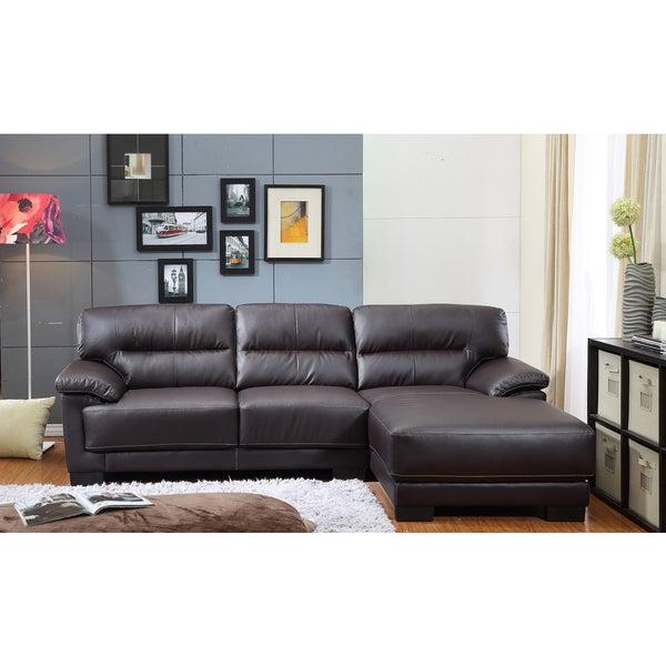 the Hom Mason 2 piece Brown Bonded Leather Sectional Sofa Free
