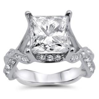 Noori 18k White Gold 2 7/8ct TDW Princess-cut Certified Diamond Engagement Ring (I-J, SI1-SI2)