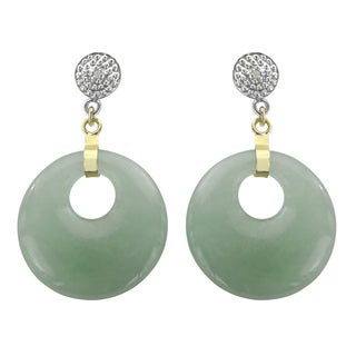 Gems For You 14k Yellow Gold Green Jade and Diamond Accent Circle Earrings