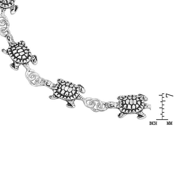 "NEW Sterling Silver 925 Mini//Baby Turtle Chain Link Bracelet 7/"" Long"