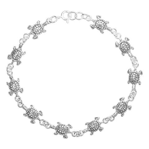 Handmade Sea Journey Turtle Link Sterling Silver Chain Bracelet (Thailand)