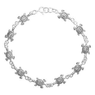Handmade Sea Journey Turtle Link .925 Sterling Silver Bracelet (Thailand)