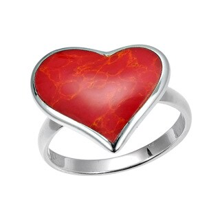 Handmade Heart of Compassion Stone Inlay Sterling Silver Ring (Thailand) - Red