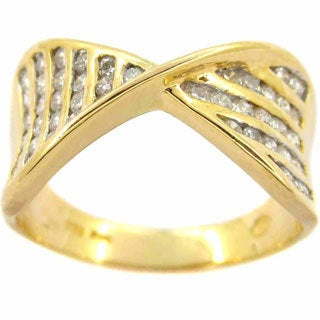 Kabella 14k Yellow Gold 3/4ct TDW Diamond Cross-over Ring (G-H, SI1-SI2) (Size 7.5)