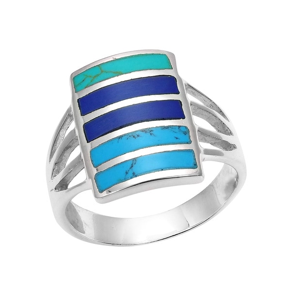 Handmade Blue Tone Horizontal Paths Stone Inlay .925 Silver Ring (Thailand)