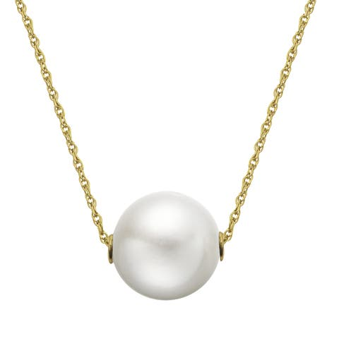 14k Yellow Gold White Freshwater Pearl Necklace (9-10 mm)