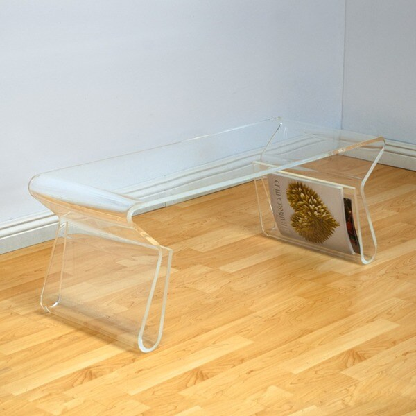 Mod Made Acrylic Magazine Rack Clear Coffee Table - Free Shipping Today - Overstock.com - 17155937