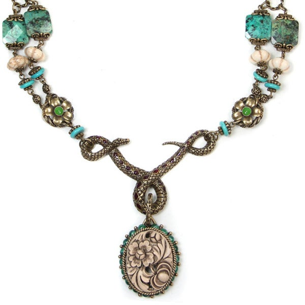 Sweet Romance Snake Serpent and Desert Flower Turquoise Necklace