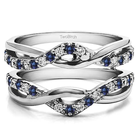 TwoBirch 10k White Gold 1/10ct TDW Diamond and Sapphire Infinity Ring Guard Enhancer