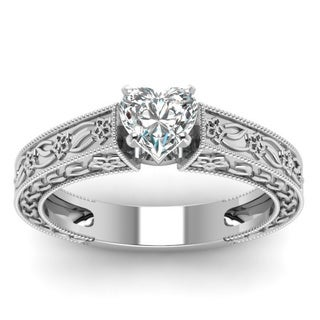 14k White Gold 1/2ct TDW Heart Diamond Ring by Fascinating Diamonds (H-I, VVS1-VVS2)