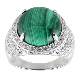 Sterling Silver Green Malachite and White Zircon Halo Ring