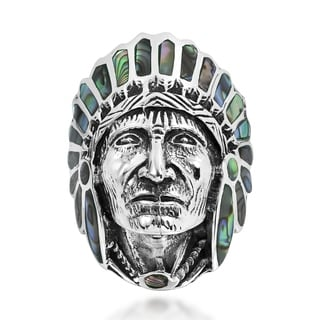 Handmade Native American Indian Chief Head Sterling Silver Ring (Thailand)