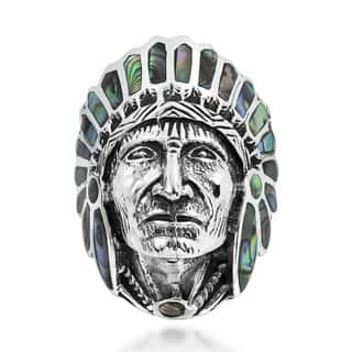 Handmade Native American Indian Chief Head Sterling Silver Ring (Thailand)|https://ak1.ostkcdn.com/images/products/10007515/P17156016.jpg?impolicy=medium