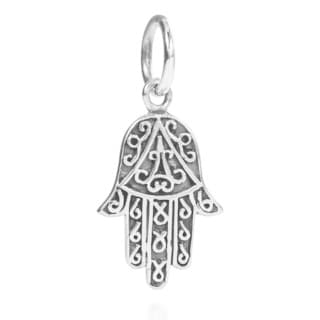 Swirl Accents Hamsa Hand Sterling Silver Pendant or Charm (Thailand)