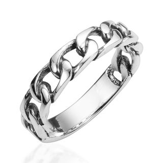 Handmade Forever Bind Chain Link .925 Sterling Silver Ring (Thailand)