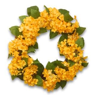 24-inch Yellow Hydrangea Wreath (As Is Item)