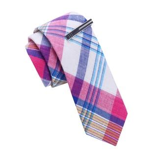 Skinny Tie Madness Men's Madras Plaid Skinny tie with Tie Clip