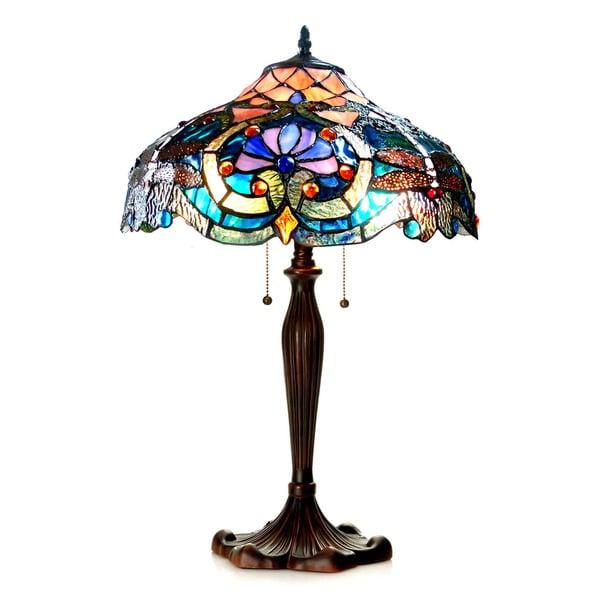 Chloe Tiffany Style Victorian Dragonfly Design 2 Light Dark Bronze Table Lamp