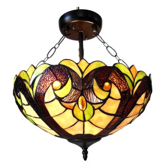 Chloe Tiffany Style Victorian Design 2-light Dark Bronze Semi-Flush Mount