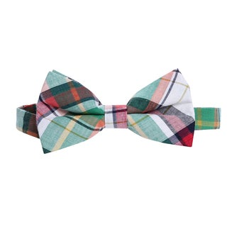 Skinny Bow Tie Madness Men's Pre-Tied Plaid Bow Tie