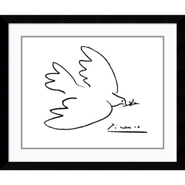 Framed Art Print 'Dove of Peace' by Pablo Picasso 36 x 30-inch