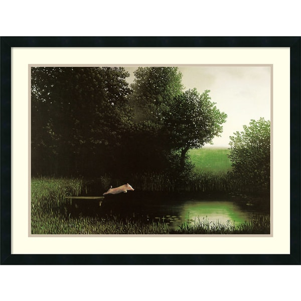 Framed Art Print 'Diving Pig' by Michael Sowa 34 x 26-inch. Opens flyout.