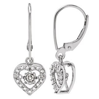 Divina Sterling Silver 1/8ct TDW Dancing Diamond Dangling Heart Earrings