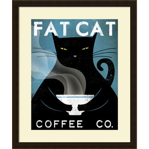 Framed Art Print 'Cat Coffee (no city)' by Ryan Fowler 23 x 28-inch