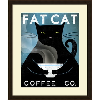 Ryan Fowler 'Cat Coffee (no city)' Framed Art Print 23 x 27-inch