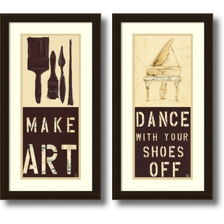 Kelsey Hochstatter 'Dance and Make Art- set of 2' Framed Art Print 14 x 26-inch Each