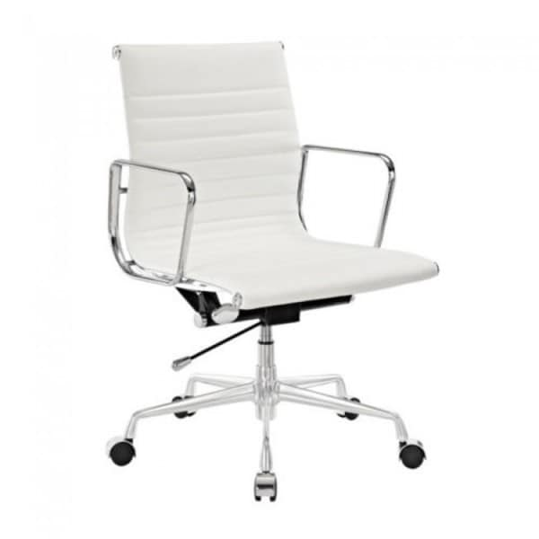 Contemporary Management White Top Grain Leather Designer Office Chair