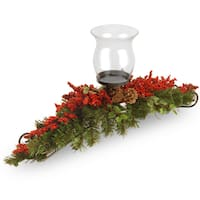 30-inch Vine Candle Holder with Glass Cup, Red Berries and Cones