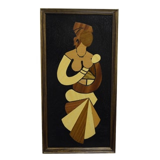 Handmade Wood Overlay 'Mother and Child - My Love Grows' Wall Art (Ghana)