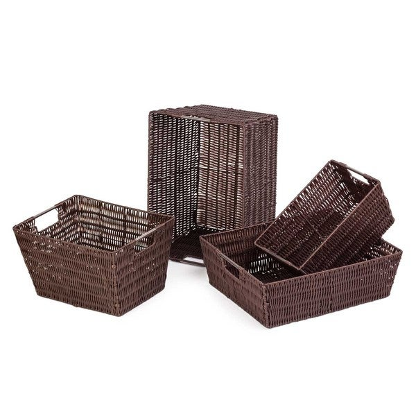 Brown Storage Woven Baskets (Set of 4)
