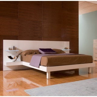 Tuscany White Bed with Built-in LED Nightstands