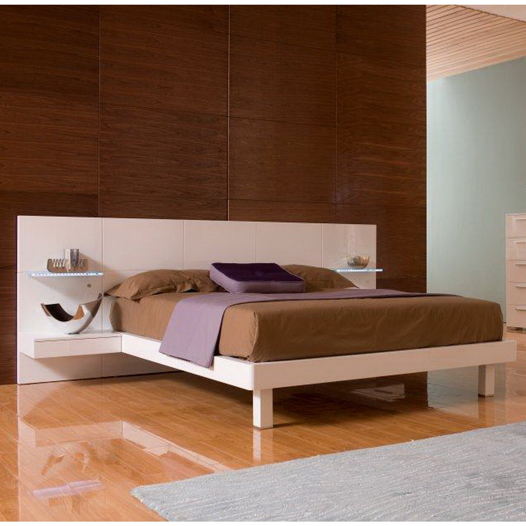 Tuscany White Bed With Built In
