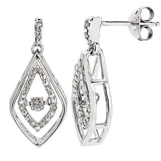Divina Sterling Silver 1/8ct TDW Dancing Diamond Dangle Earrings (I-J, I2-I3)