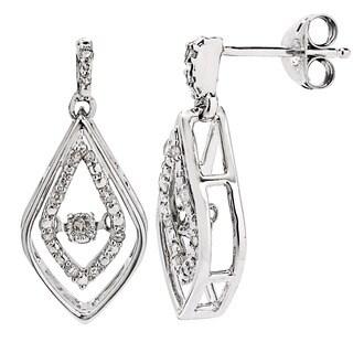 Divina Sterling Silver 1/8ct TDW Dancing Diamond Dangle Earrings
