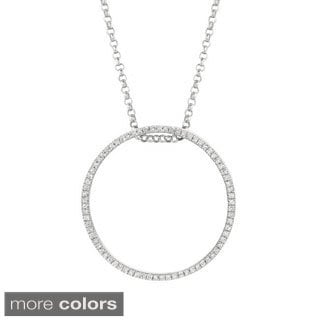 Sterling Silver Multi-colored Diamond Stackable Circle Pendant Necklace