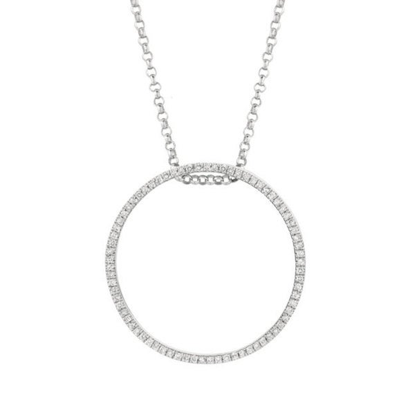 f3aba25bb Sterling Silver Multi-colored Diamond Stackable Circle Pendant Necklace